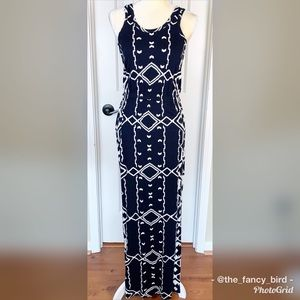 J.Crew Navy Cream Racerback Aztec Print Maxi Dress